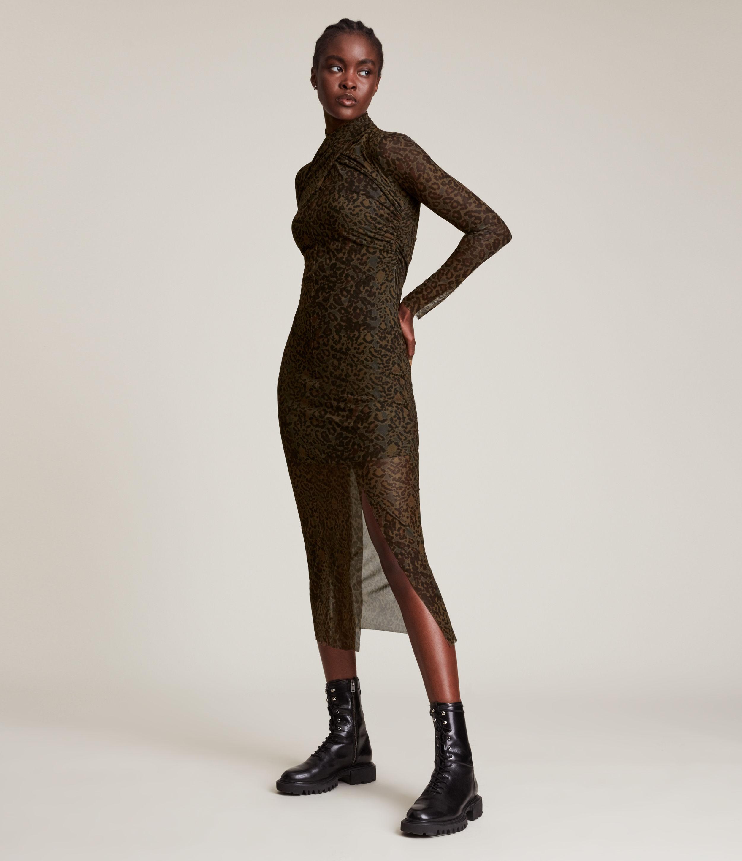 Allsaints Tia Long Sleeve Dress In Khaki Green