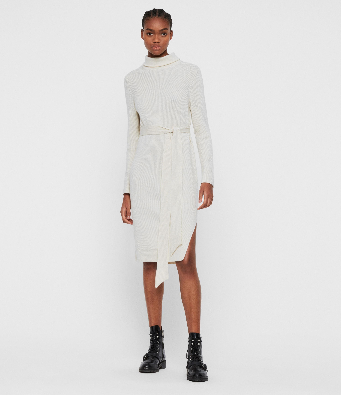 AllSaints Womens Roza Cashmere Blend Jumper Dress, White, Size: M