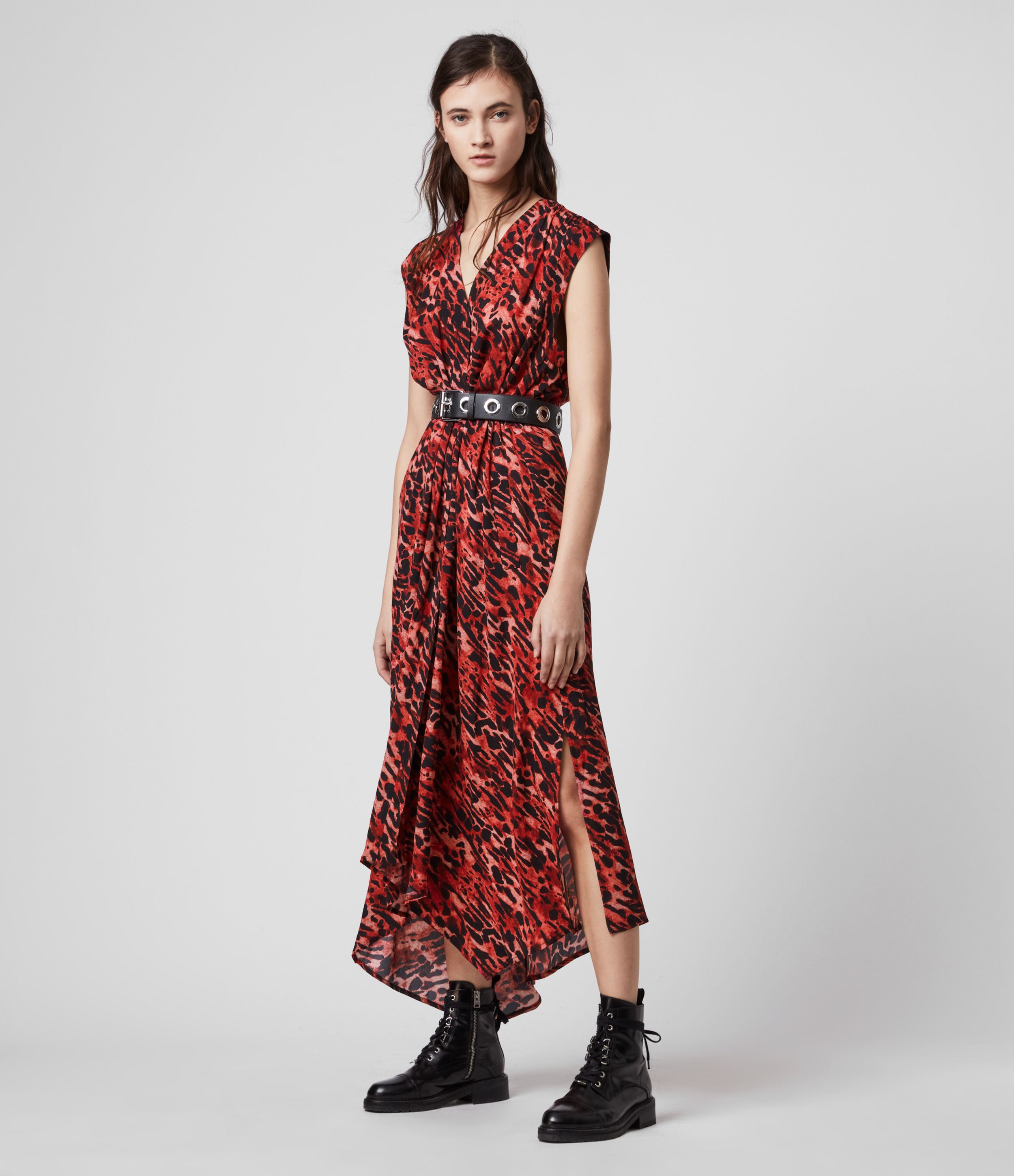AllSaints Womens Tate Ambient Dress, Red, Size: XS