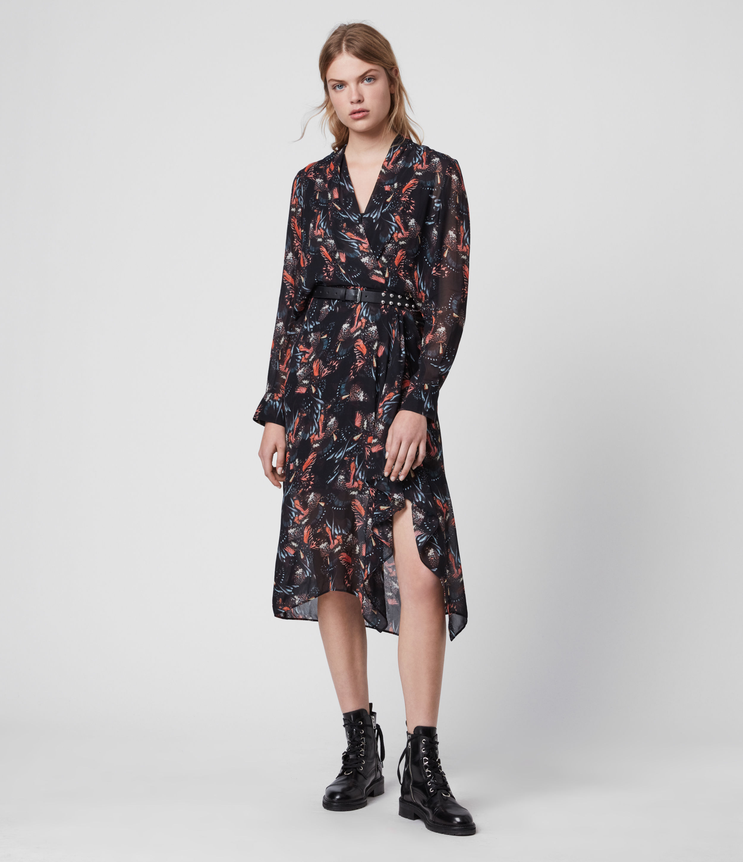 AllSaints Valero Flutter Dress
