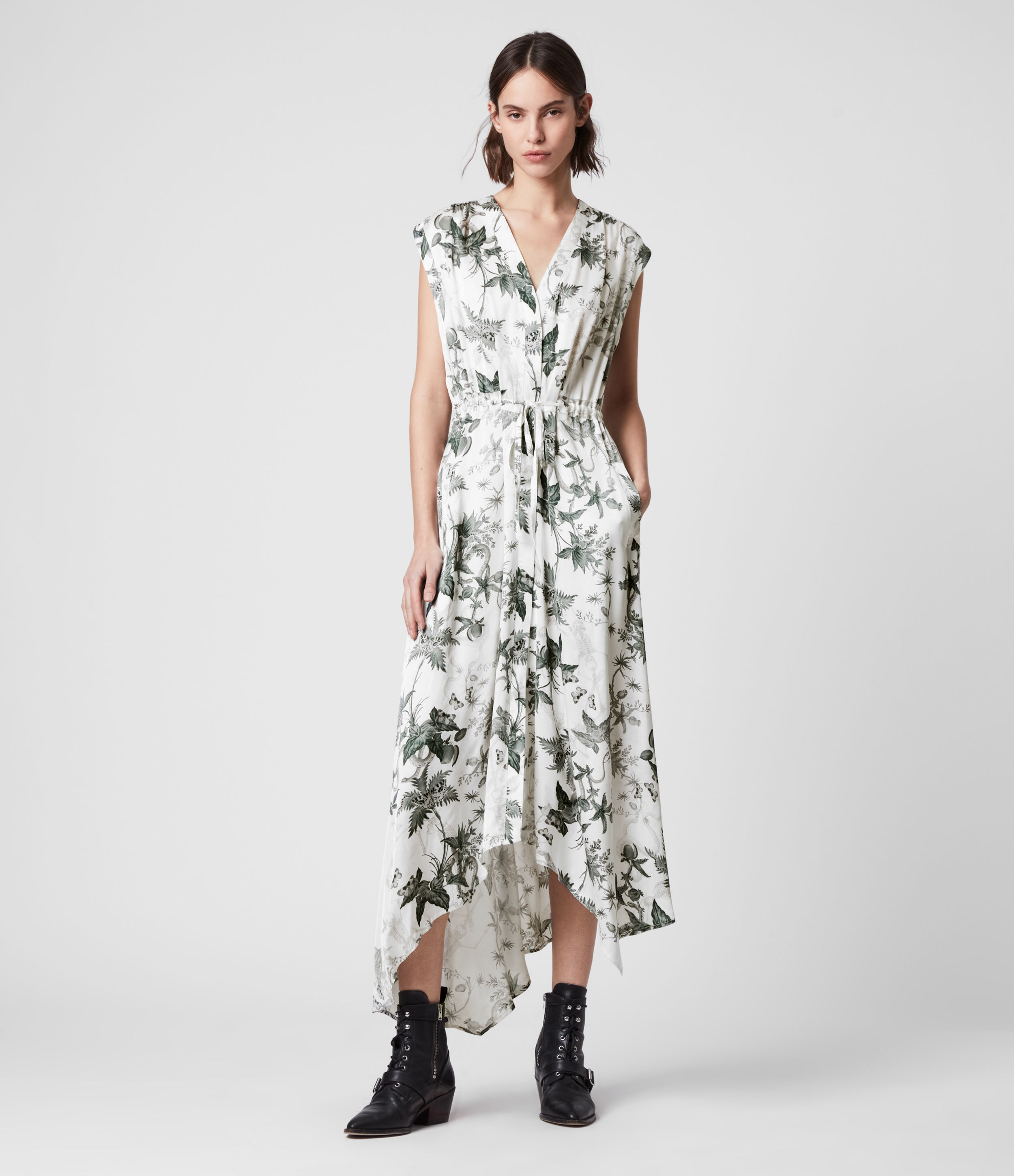 AllSaints Women's Floral Relaxed Fit Tate Evolution Dress, White and Green, Size: S