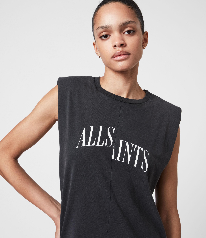 AllSaints Women's Coni Organic Cotton Dropout Dress, Acid Washed Black, Size: S
