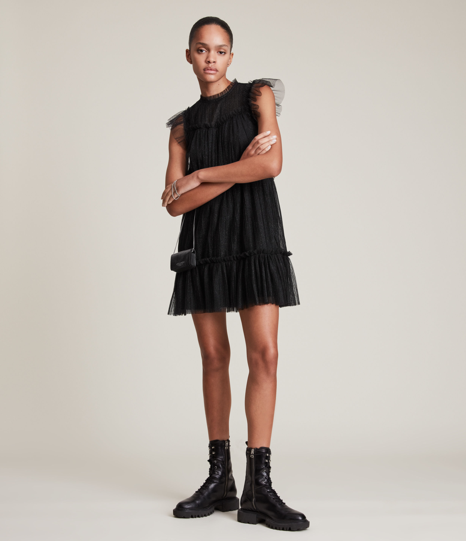 AllSaints Women's Perri Dress, Metallic Black, Size: 10