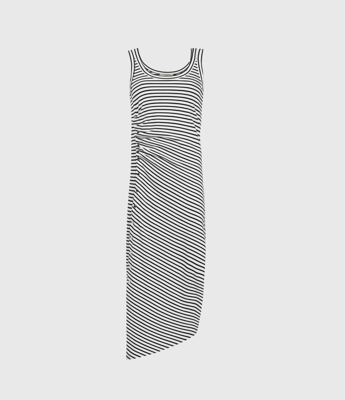 AllSaints Women's Stripe Slim Fit Hatti Sleeveless Dres, White and Black, Size: 4