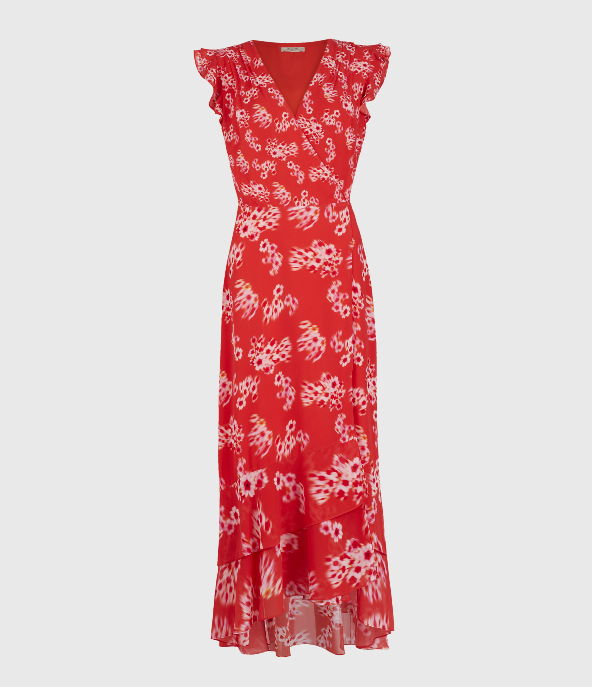 AllSaints Women's Floral Lightweight Dela Jasmine Dress, Red, Size: 10