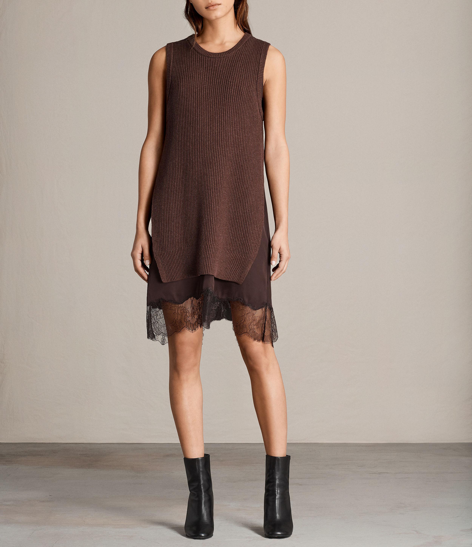 AllSaints Womens Eloise Sleeveless Dress, Port Red, Size: S