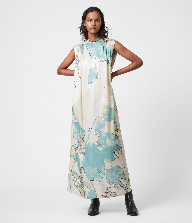 AllSaints Womens Heather Silk Blend Marble Dress, Aqua Blue, Size: 10
