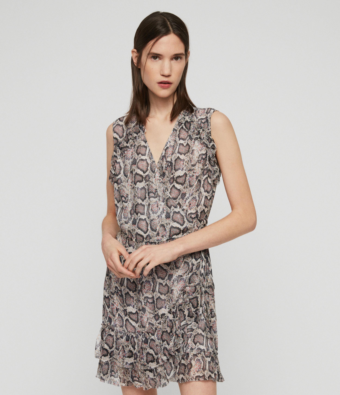 AllSaints Women's Snake Print Lightweight Priya Misra Dress, White, Size: M