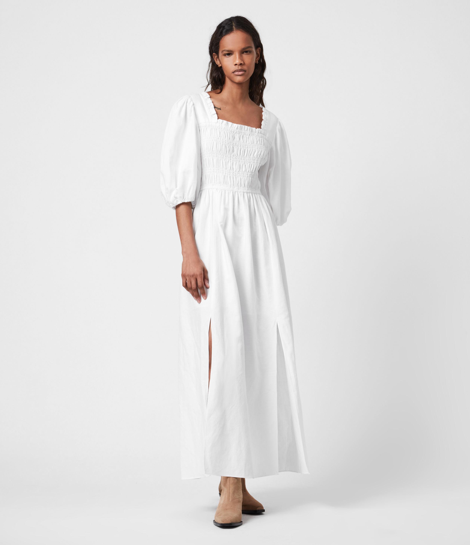 AllSaints Womens Livi Cotton-Linen Blend Dress, Chalk White, Size: 4