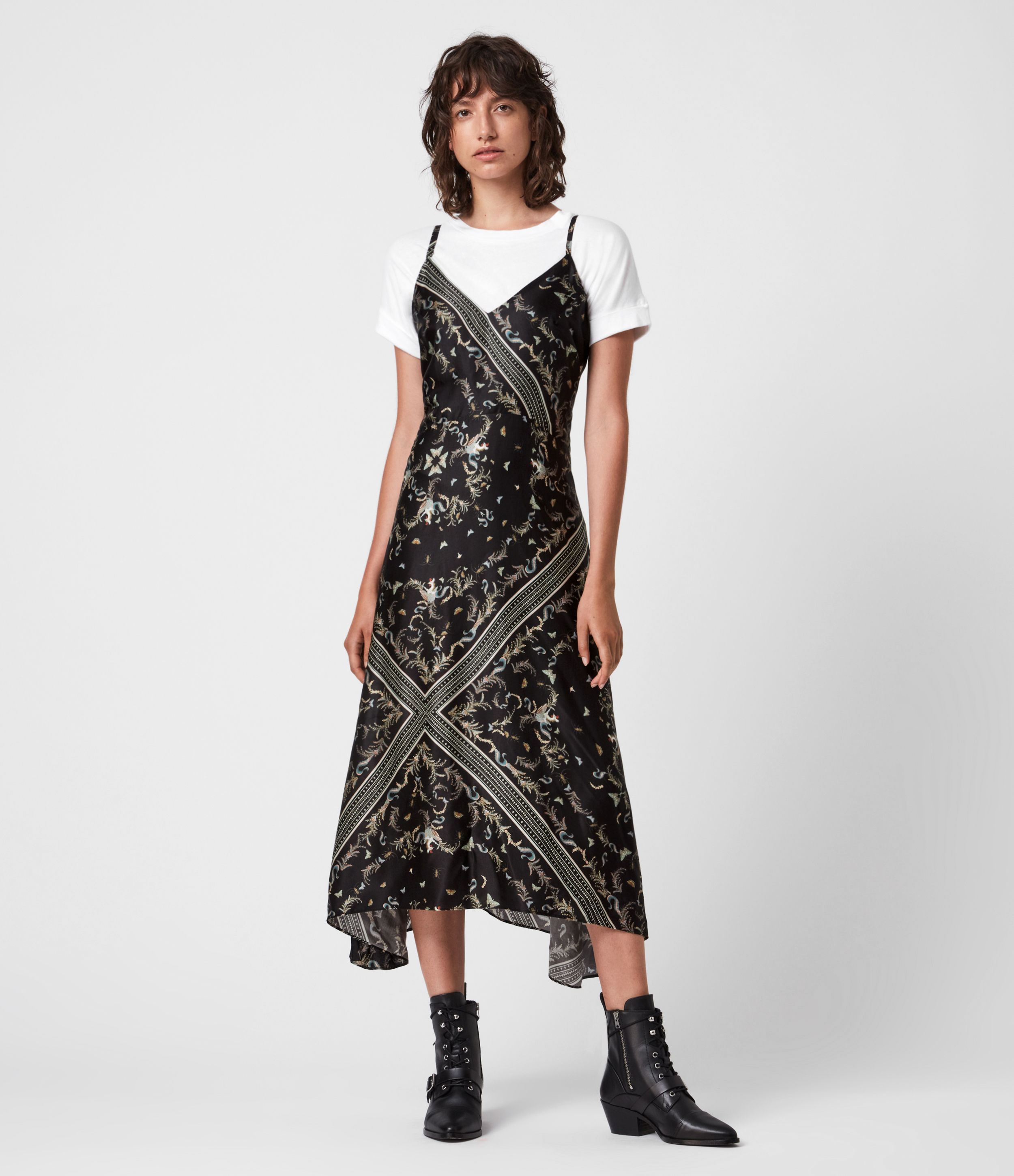 AllSaints Larisa Assam Silk Blend Dress
