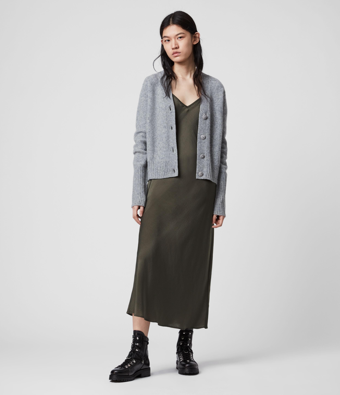 AllSaints Womens Tierney Slip Dress, Green, Size: S