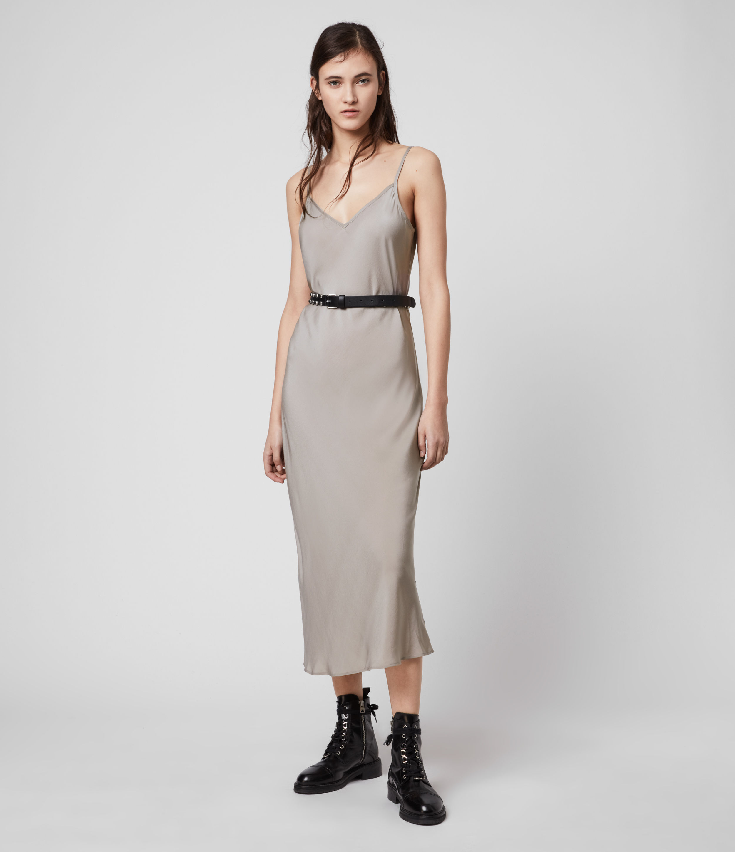 AllSaints Women's Regular Fit Tierney Slip Dress, Grey, Size: M