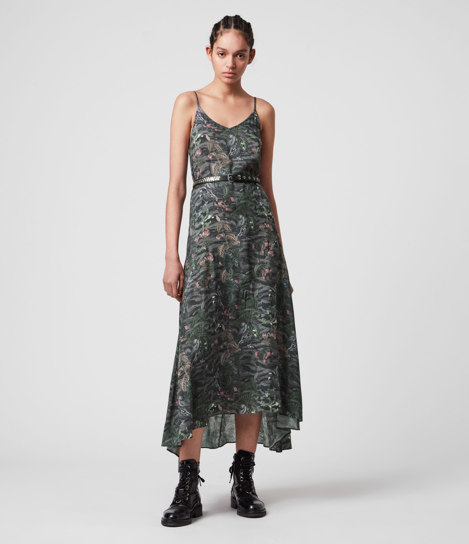 AllSaints Women's Essie Paradeep Dress, Green, Size: XS