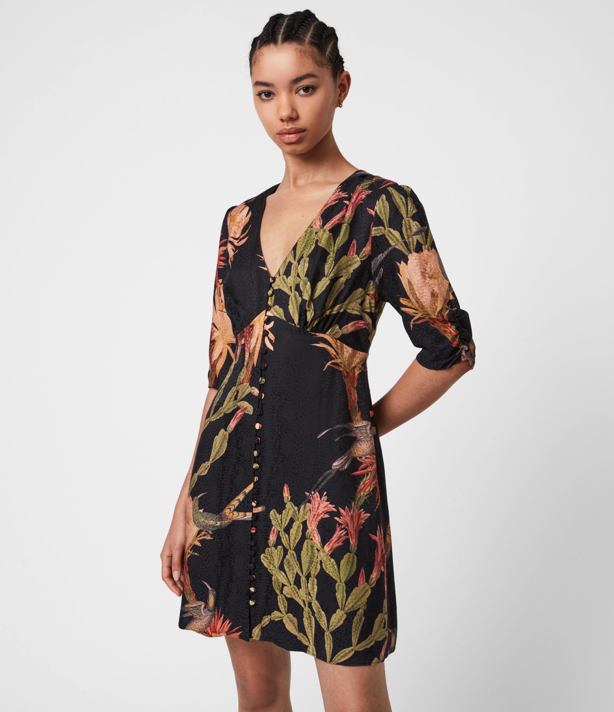 AllSaints Womens Kota Nolina Silk-Blend Dress, Black, Size: 12