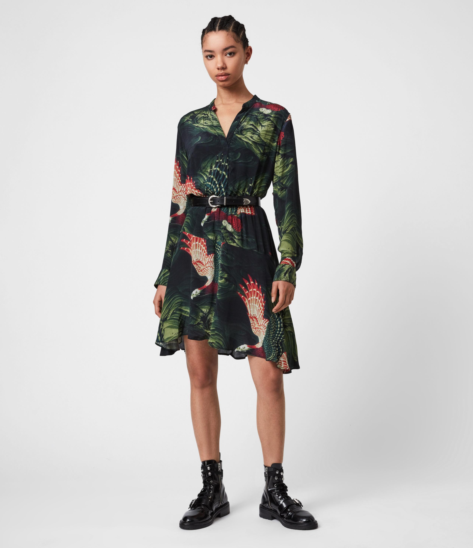 AllSaints Womens Martina Swoop Dress, Moss Green, Size: 2