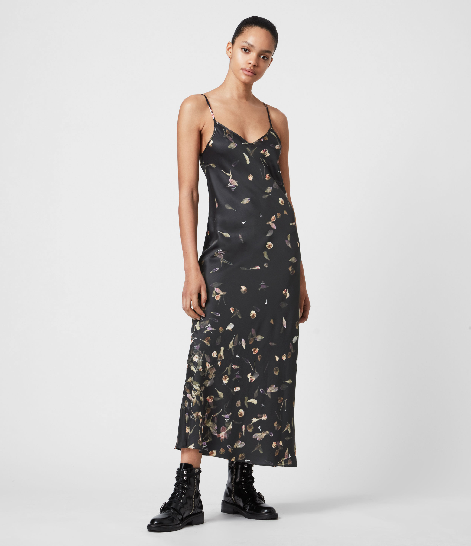AllSaints Womens Bryony Mutare Dress, Black, Size: 8