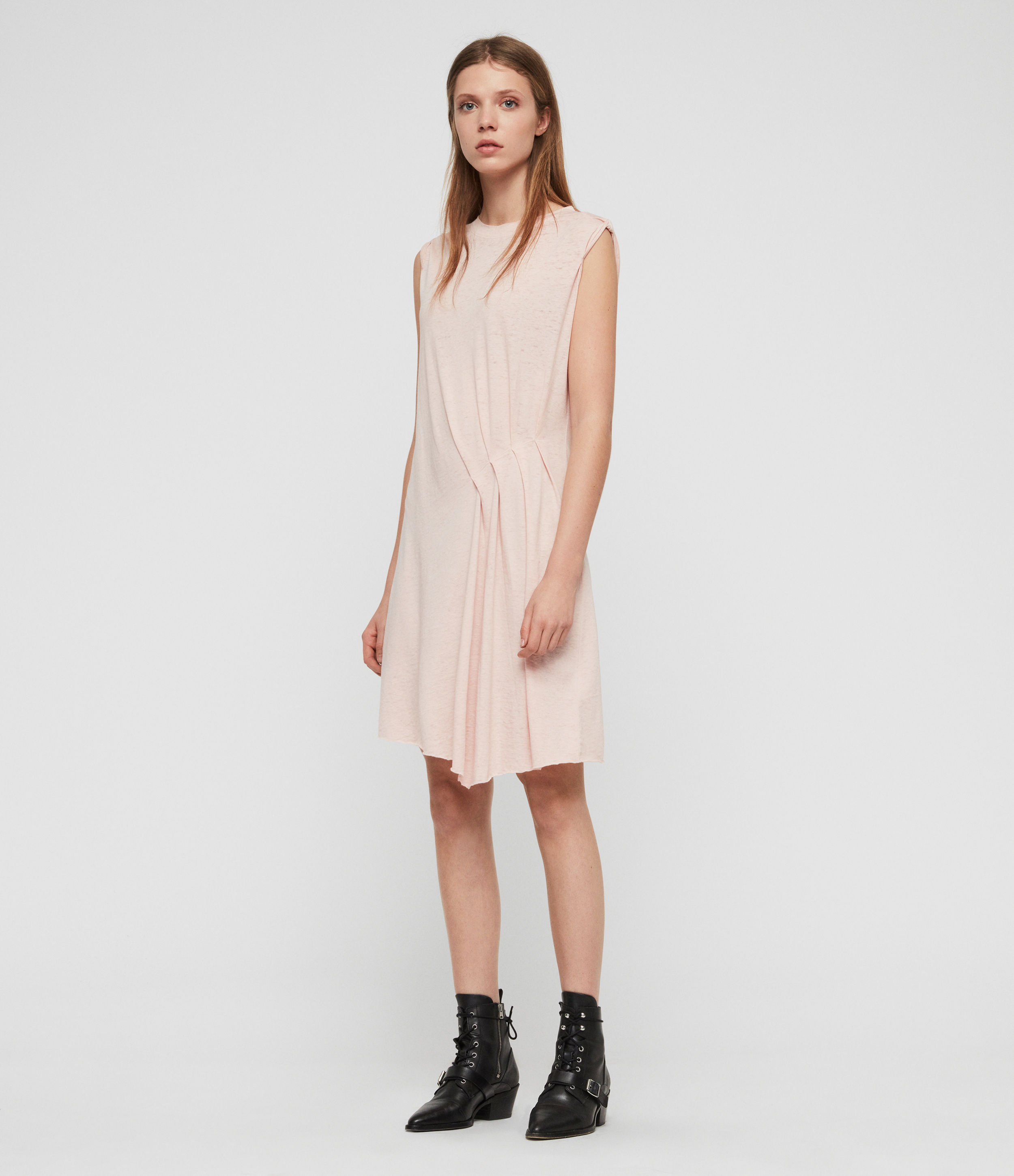 AllSaints Women's Cotton Regular Fit Duma Dress, Pink, Size: M