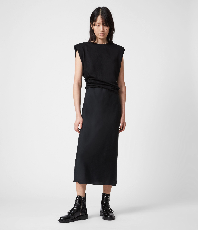 AllSaints Womens Tierny 2-In-1 Coni Dress, Black, Size: S