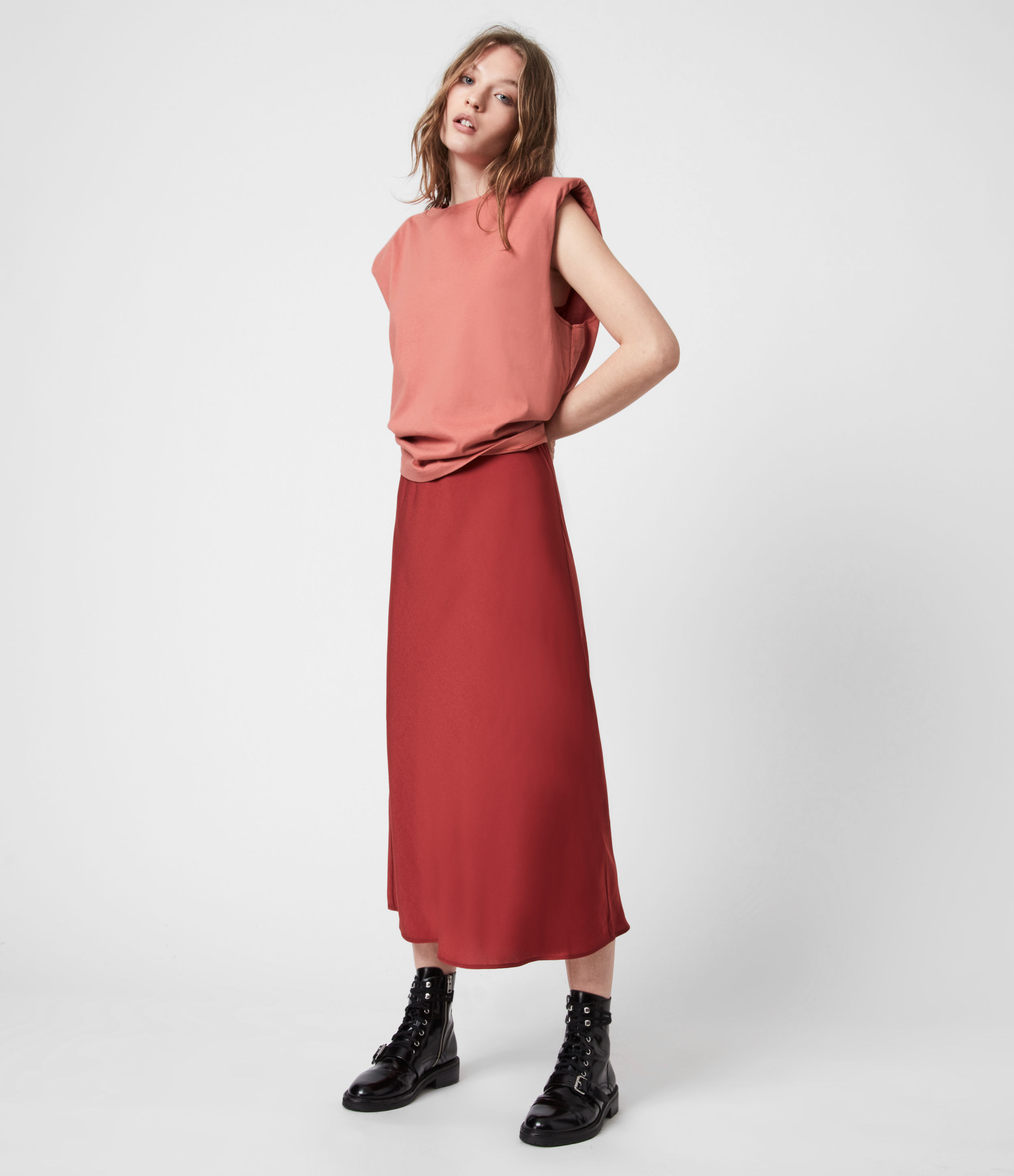 AllSaints Womens Tierny 2-In-1 Coni Dress, Rosewood Pink, Size: S