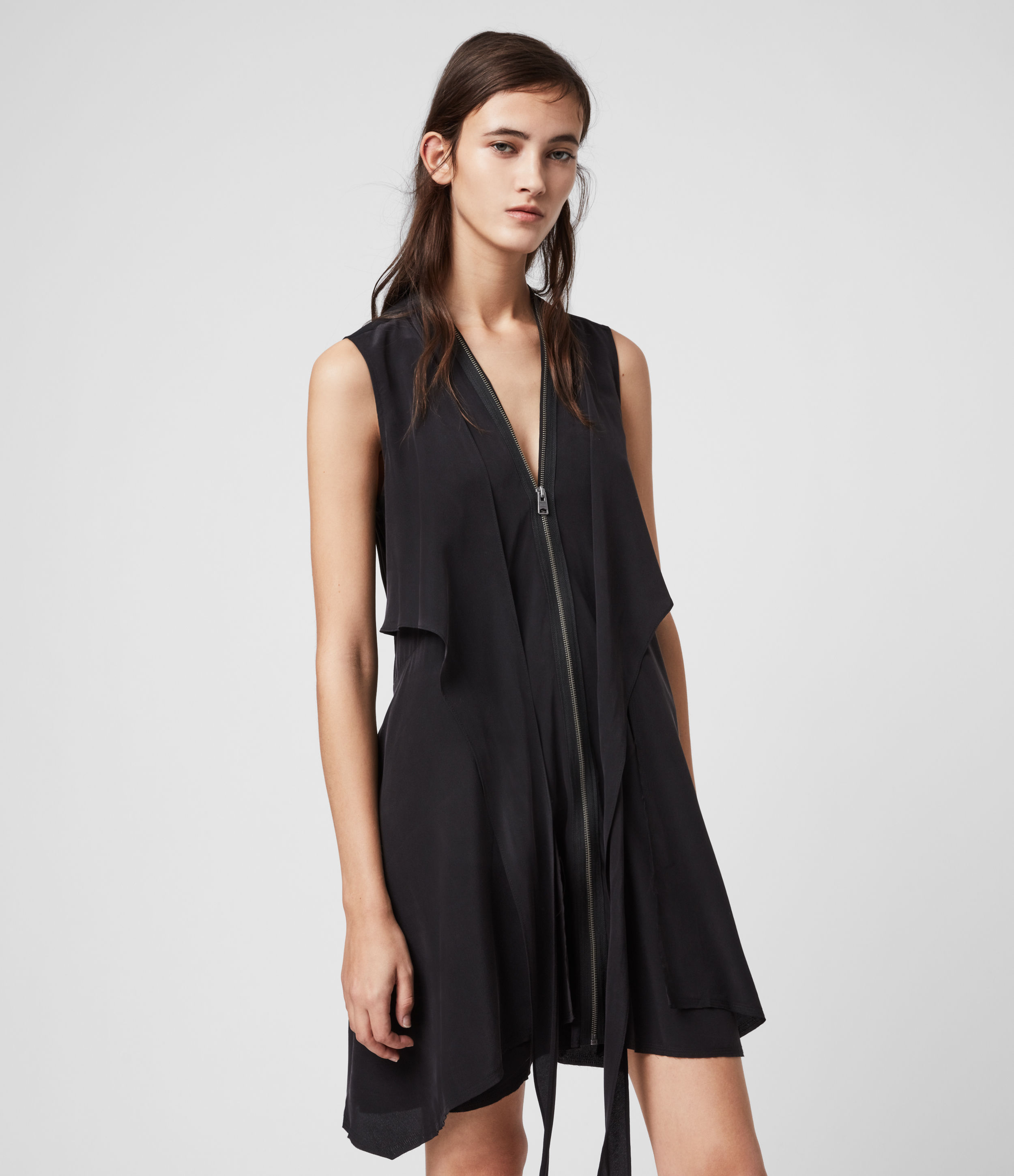 AllSaints Women's Silk Lightweight Jayda Dress, Black, Size: L