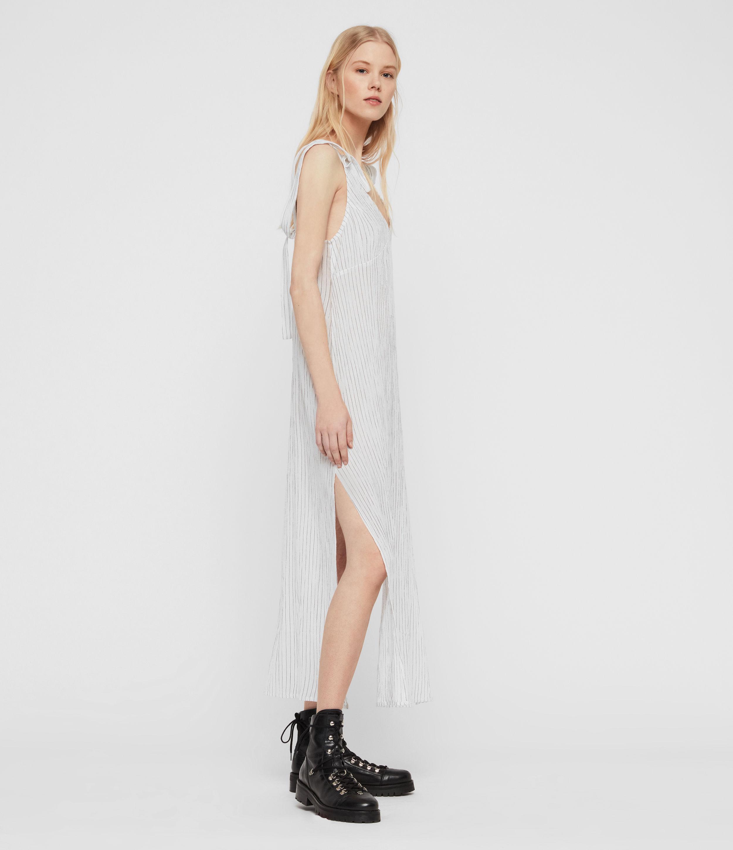 AllSaints Womens Dalea Stripe Dress, Chalk White/blue, Size: S