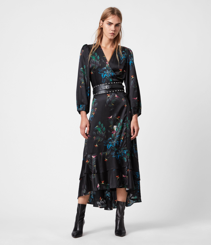 AllSaints Womens Paya Silk Blend Creation Dress, Black, Size: 12