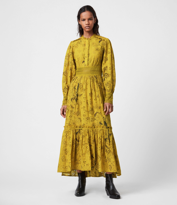 AllSaints Womens Sia Demoir Broderie Dress, Garden Olive, Size: 4