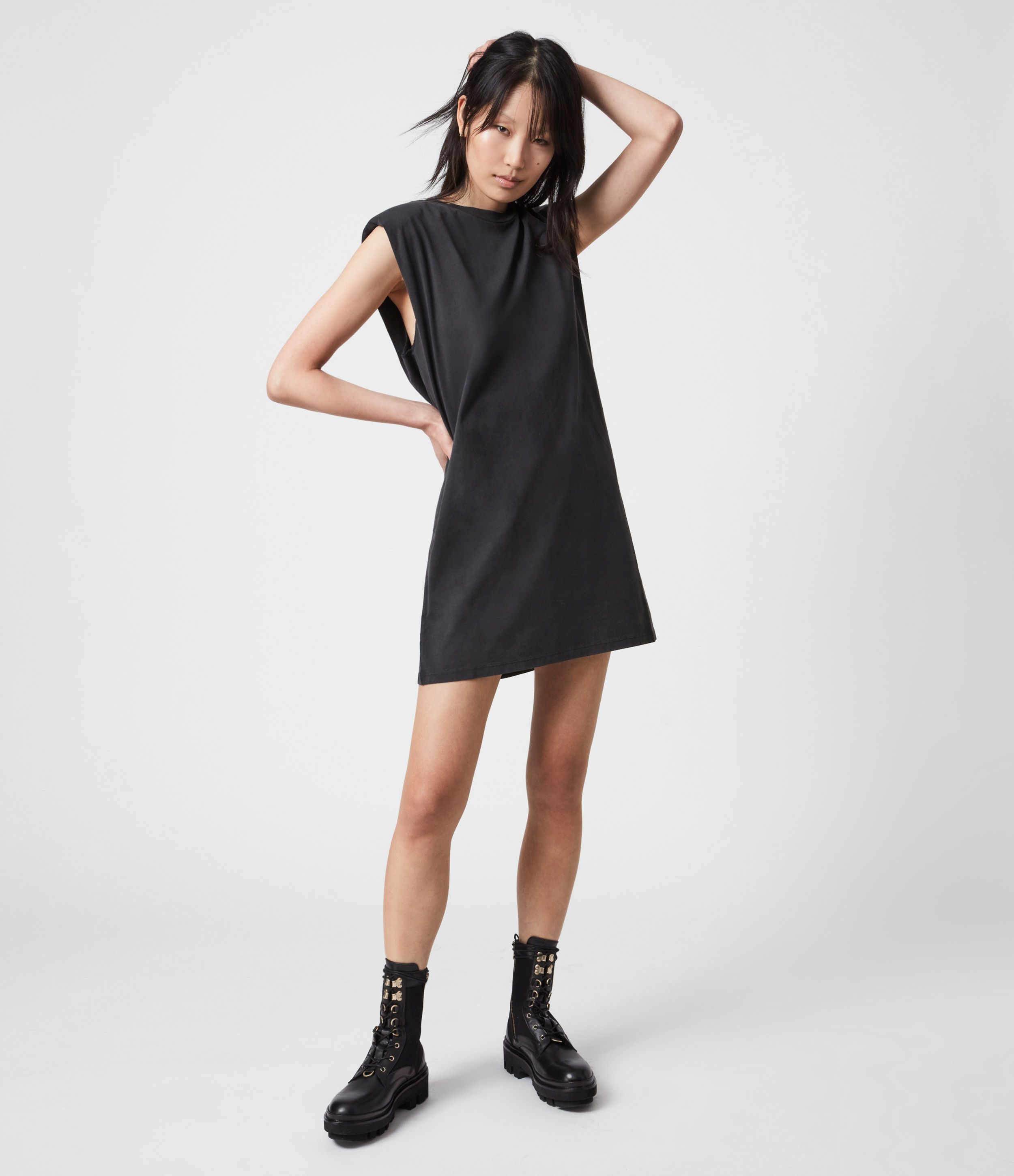 AllSaints Womens Coni Organic Cotton Tank Dress, Acid Washed Black, Size: L