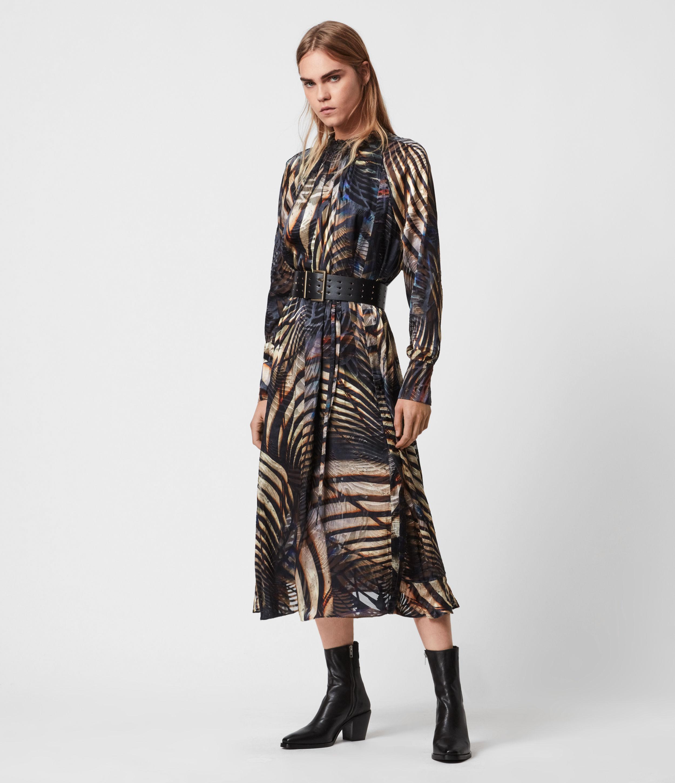 AllSaints Womens Carolina Silk Blend Unison Dress, Black, Size: 8