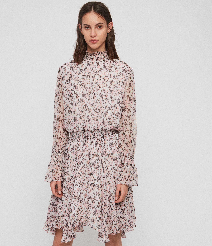 AllSaints Womens Ria Freefall Dress, White, Size: S