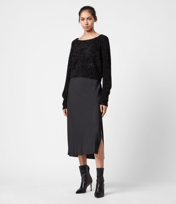 AllSaints Womens Rosetta Tinsel 2-In-1 Dress, Black, Size: XS