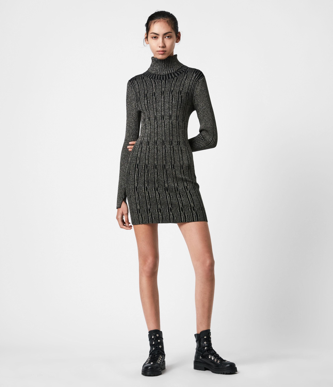 AllSaints Womens Rosa Cable Dress, Black/gold, Size: S