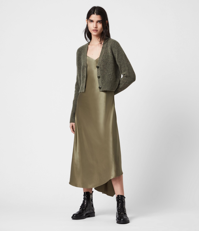 AllSaints Womens Orri 2-In-1 Dress, Green and Khaki, Size: M