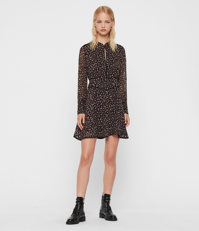 AllSaints Women's Kay Ditz Dress, Black, Size: 6