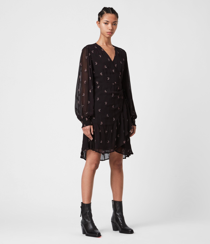 AllSaints Fina Snake Dress, Black, Size: 8