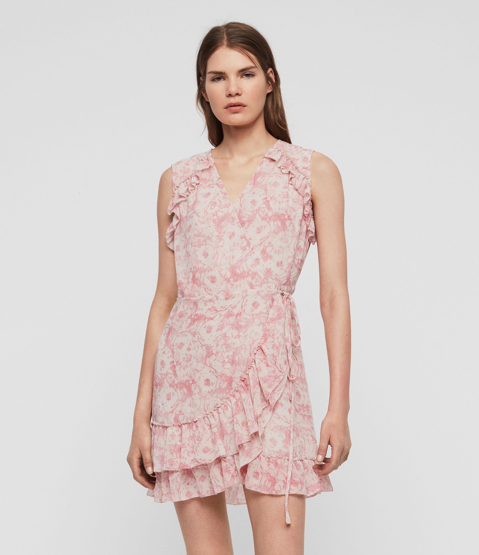 AllSaints Womens Priya Rosa Dress, Pink, Size: S