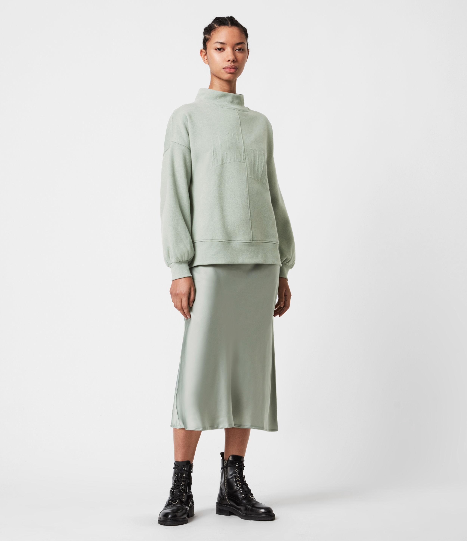 AllSaints Nevarra Splitsaints 2-in-1 Dress, Green Bay, Size: S