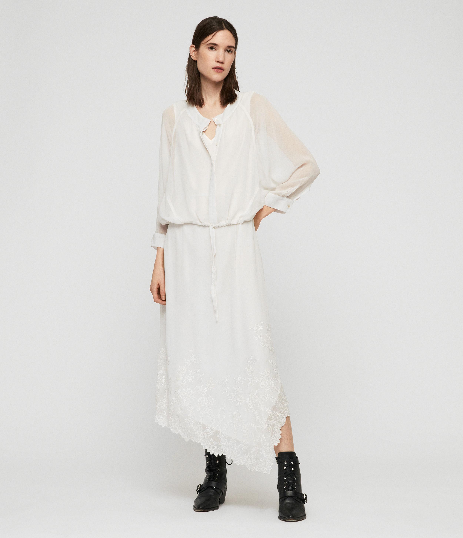 AllSaints Women's Floral Lightweight Rhea Ebony Dress, White, Size: M