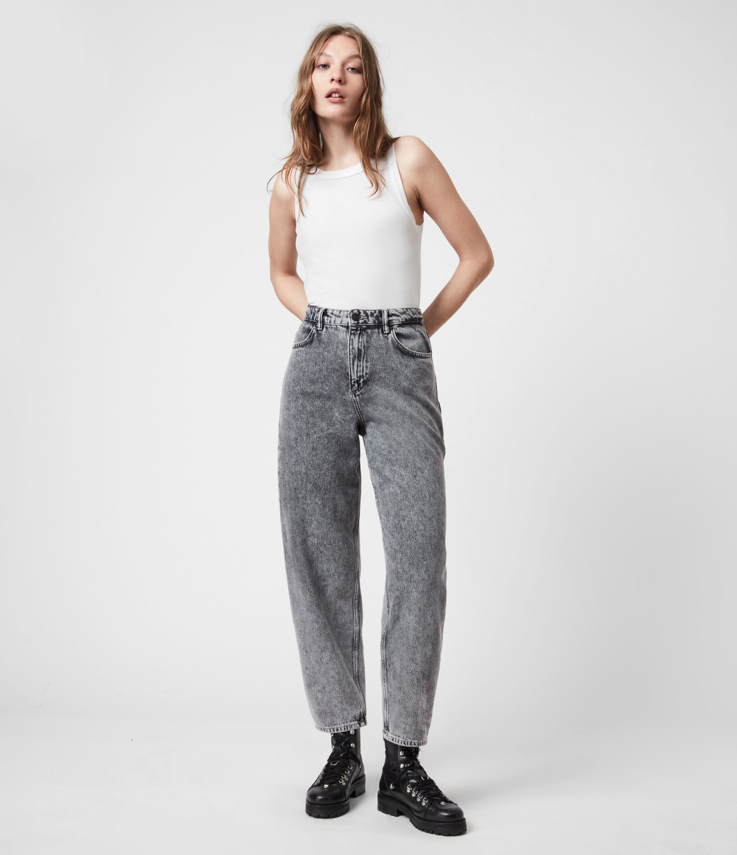 AllSaints Women's Baya High-Rise Straight Jeans, Snow Wash Grey, Size: 28