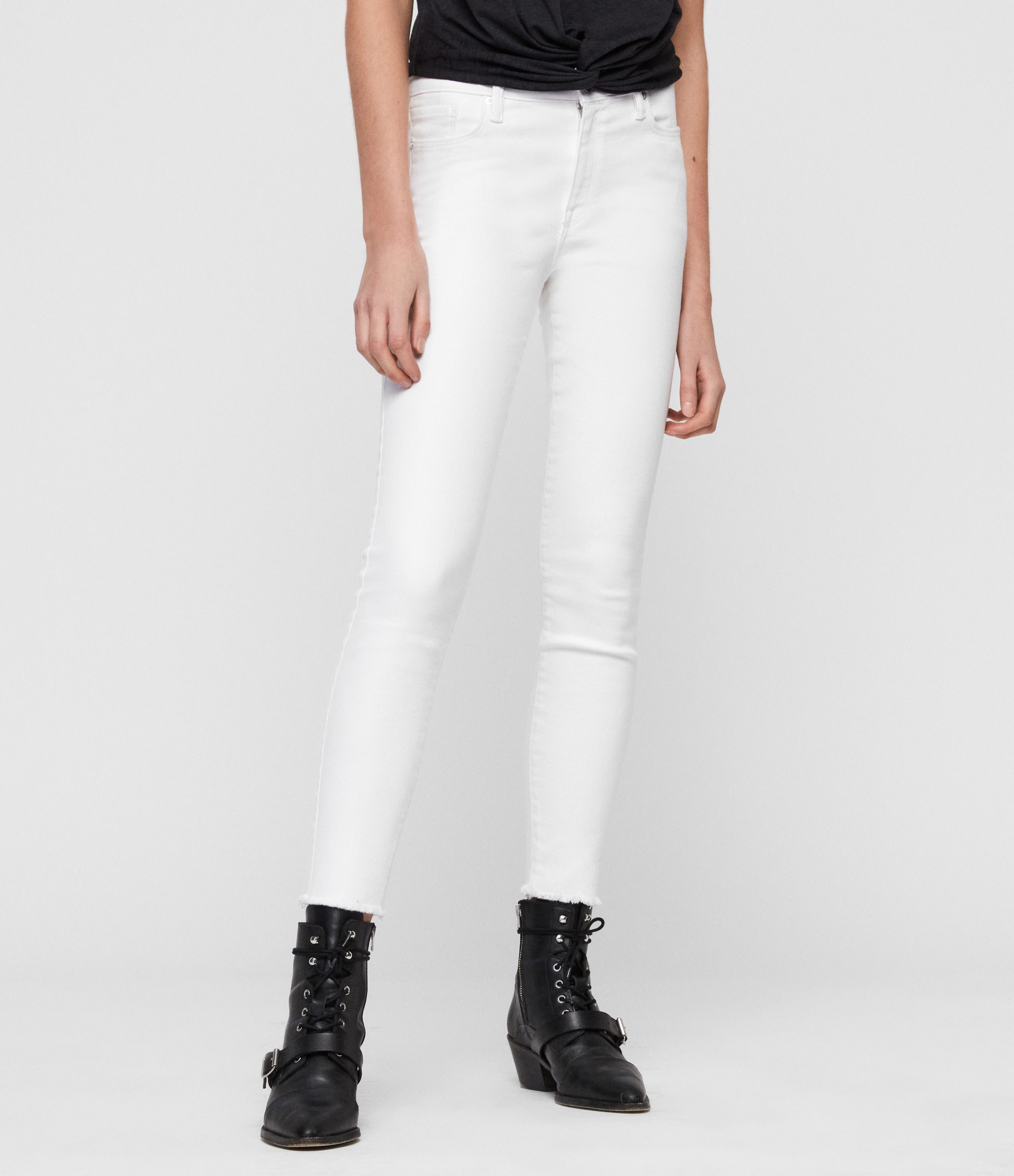 AllSaints Grace Ankle Fray Skinny Mid-Rise Jeans, White