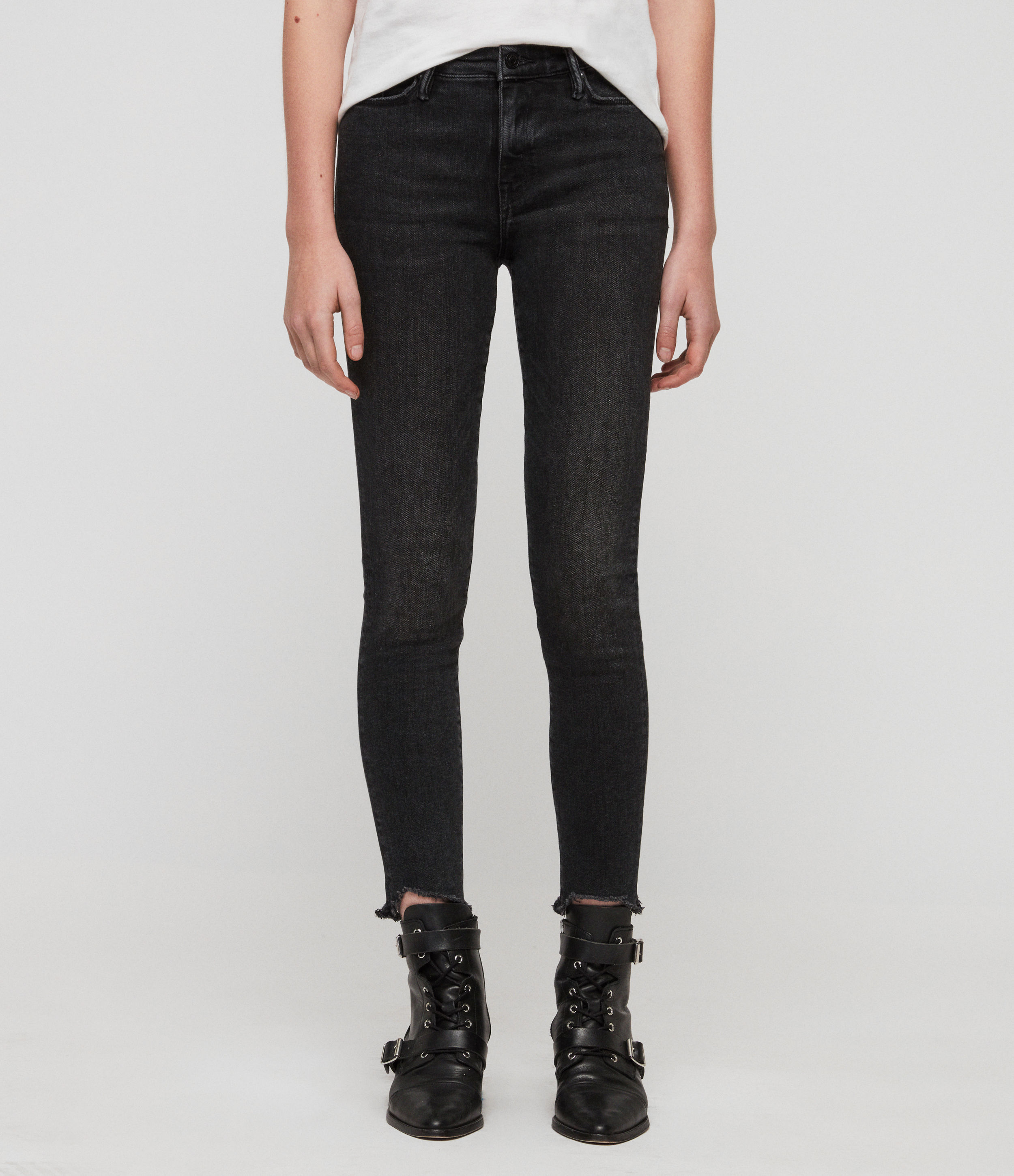 AllSaints Womens Grace Ankle Fray Skinny Mid-Rise Jeans, Washed Black, Size: 31
