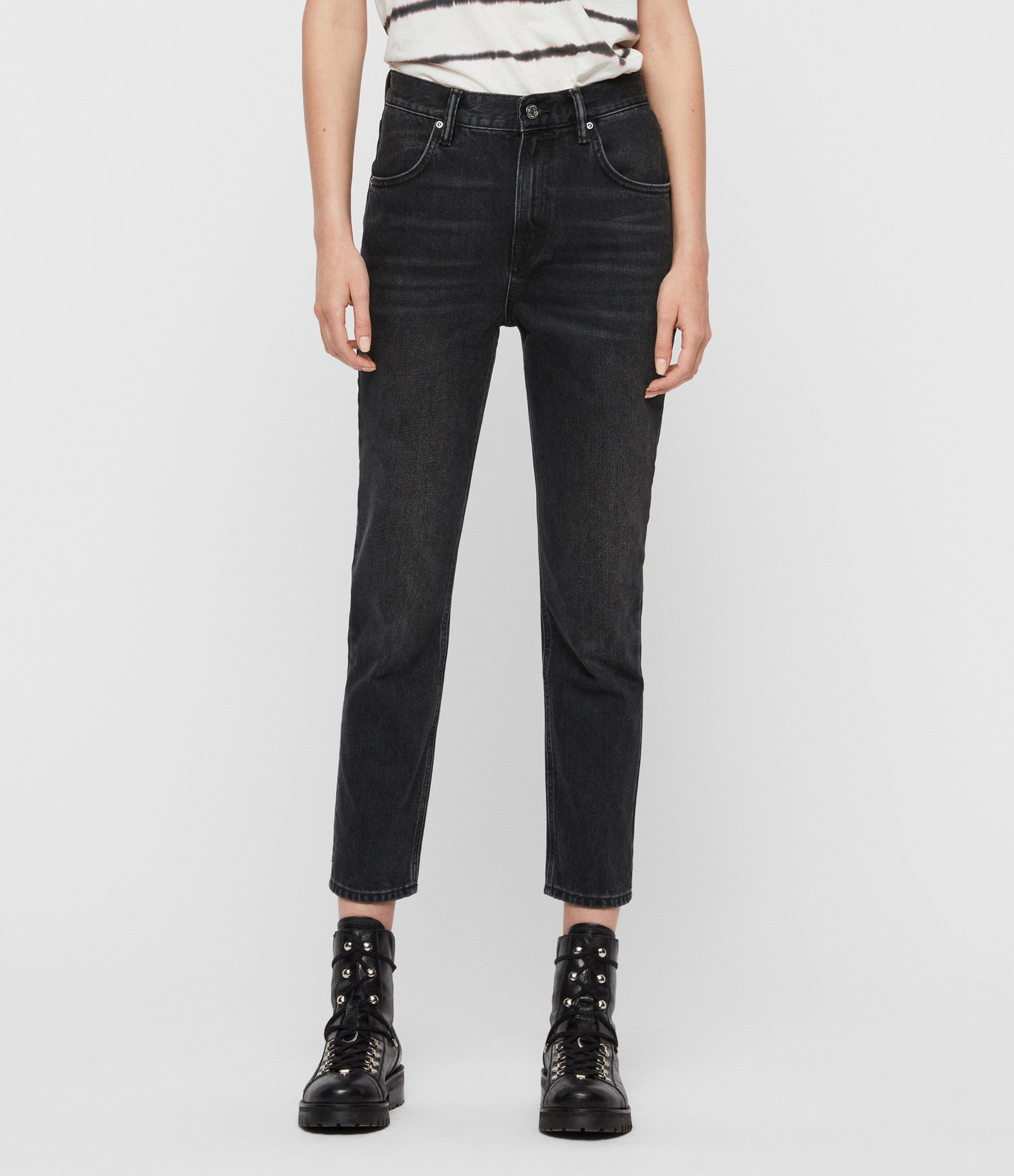 AllSaints Brooke High-Rise Straight Jeans, Washed Black