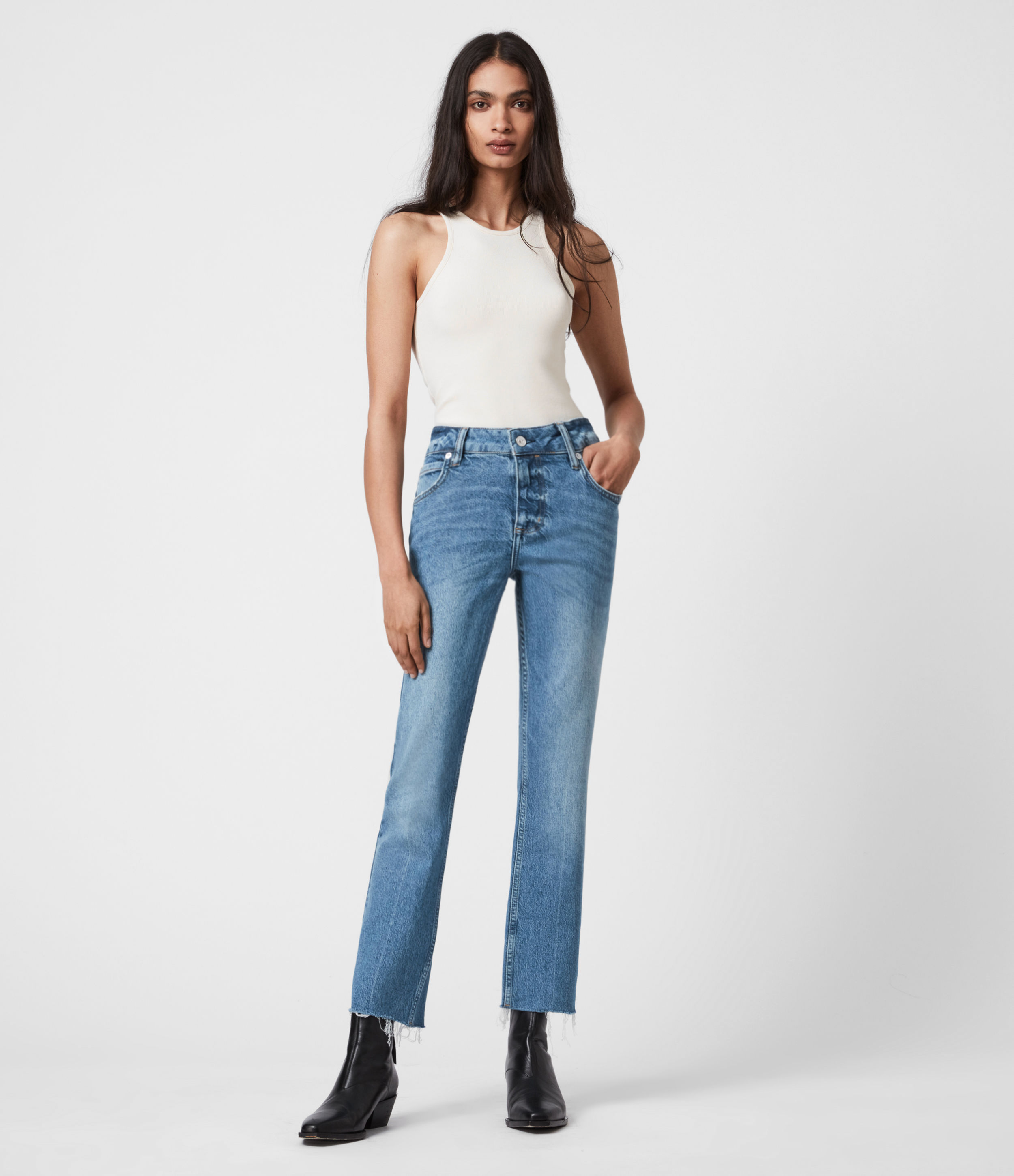 AllSaints Womens Barely Cropped High-Rise Bootcut Jeans, Mid Indigo, Size: 30