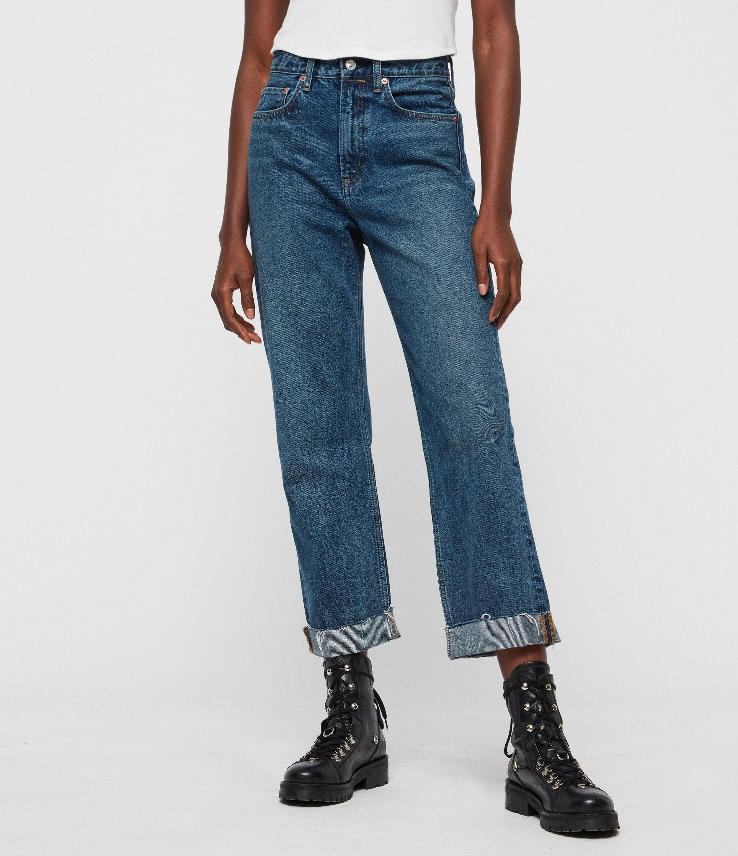 AllSaints Women's Cotton Vintage Mari High-Rise Cropped Boyfriend Jeans, Dark Blue, Size: 29