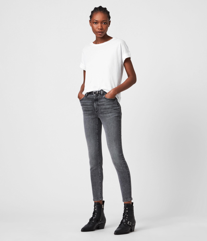 AllSaints Women's Miller Mid-Rise Skinny Jeans, Vintage Black, Size: 26
