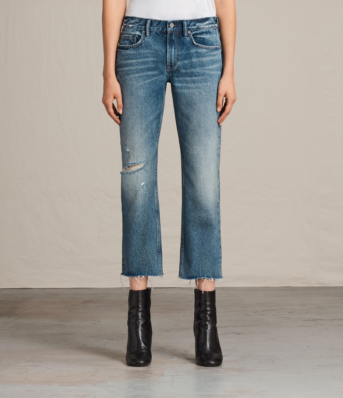 AllSaints Womens Serene Destroy Kick Flare Jeans, MID Indigo Blue, Size: 25