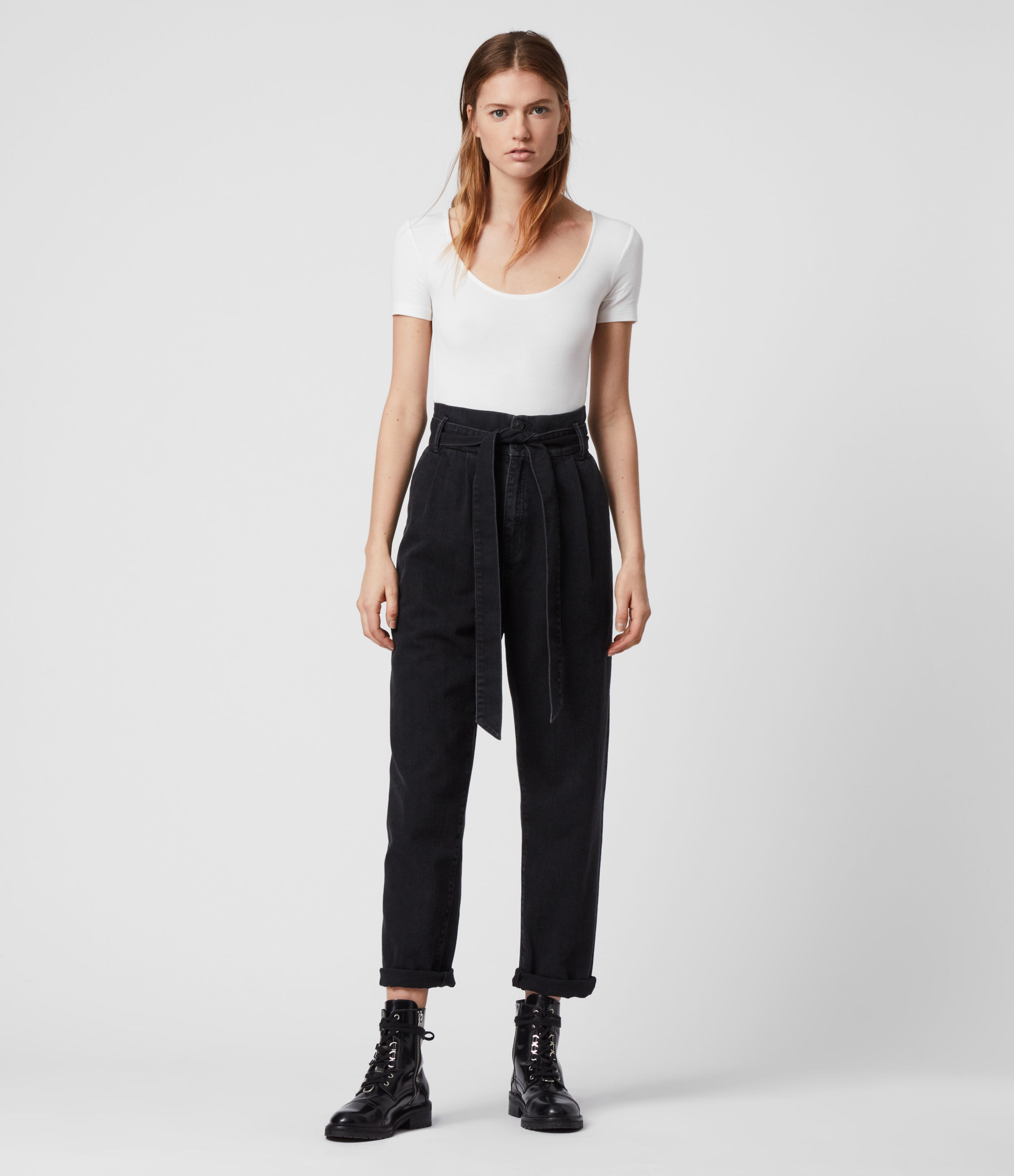 AllSaints Women's Cotton Relaxed Fit Ralita High-Rise Cropped Jeans, Black, Size: 12