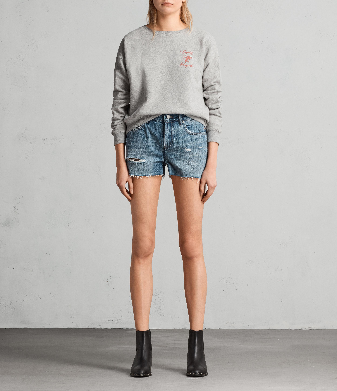 AllSaints Womens Serene Embroidered Mid-Rise Denim Shorts, Vintage Indigo BLU, Size: 25