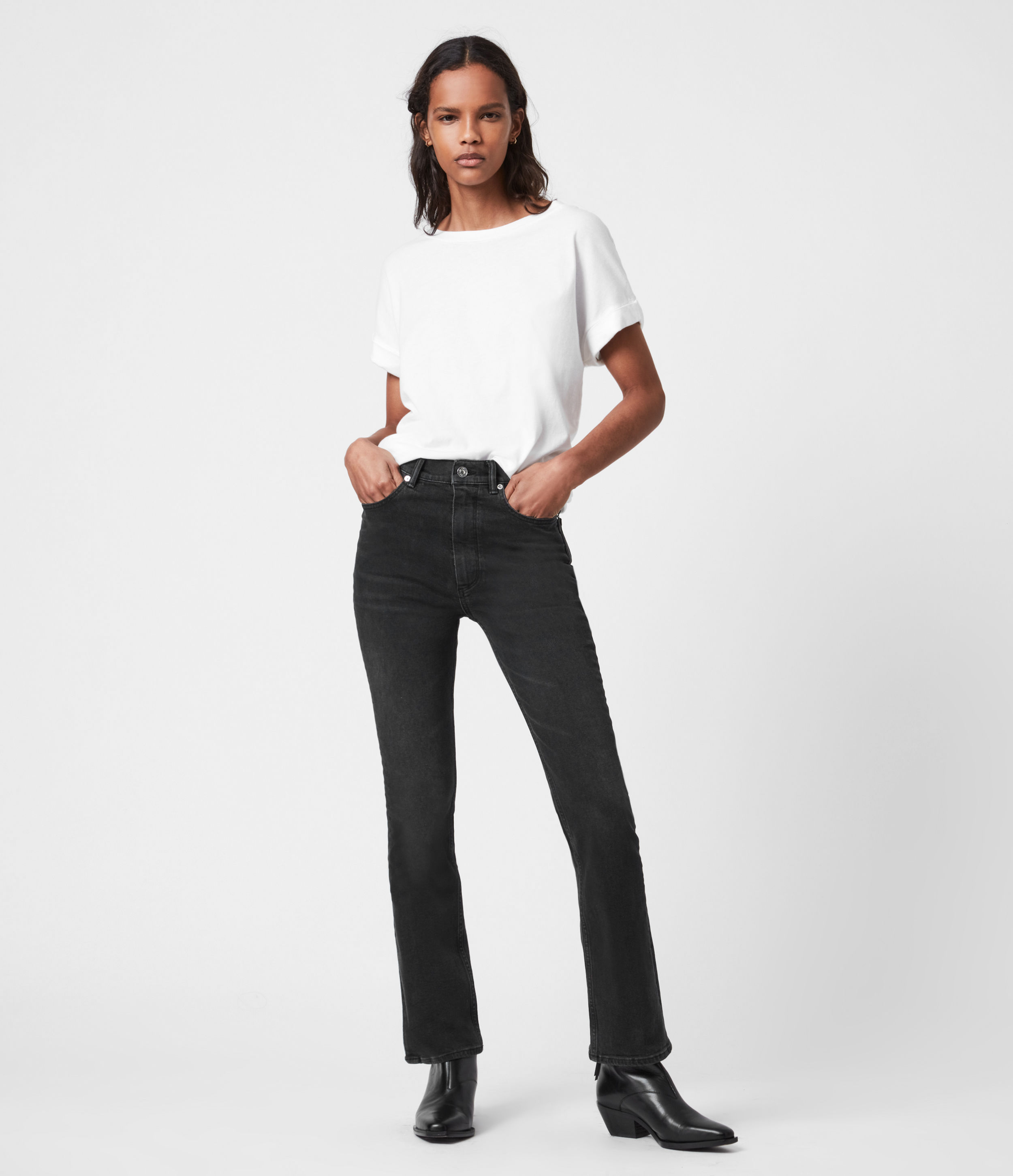 AllSaints Womens Ciara High-Rise Bootcut Jeans, Washed Black, Size: 24