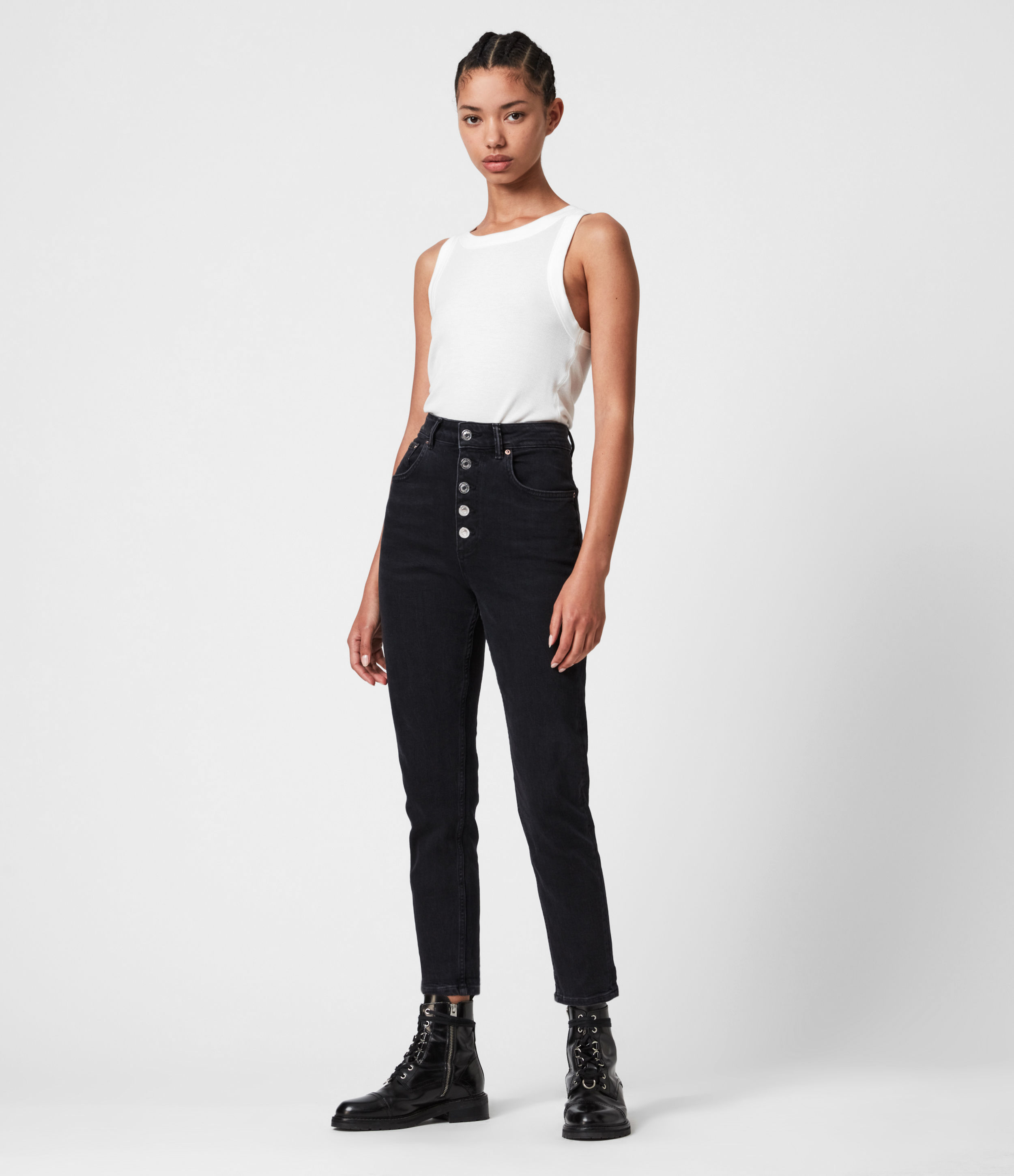 AllSaints Jules High-Rise Slim Jeans, Washed Black